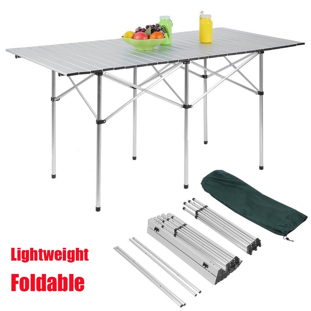 キャンプポータブルアルミ折りたたみテーブル 軽量アウトドアロールアップ キャンプ ピクニックテーブル 収納バッグ付き 長さ55インチ×幅28インチ   B07B8M8YBH