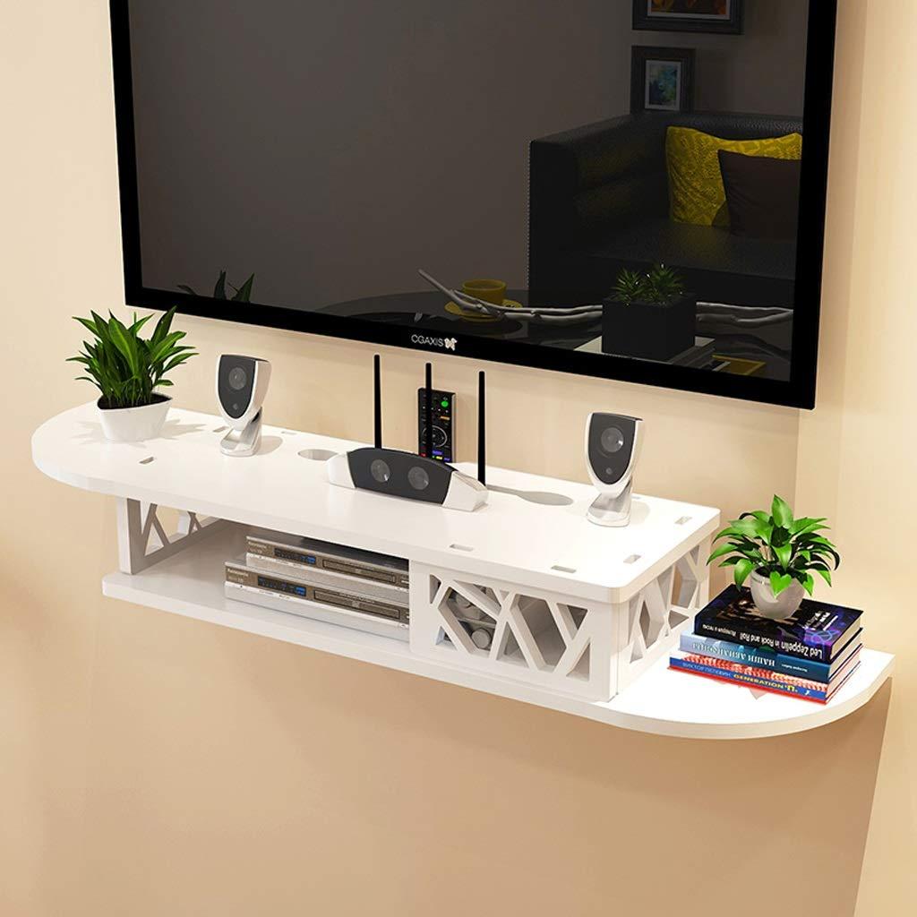 Wall Shelf Wall-Mounted TV Shelf WiFi Router Set Top Box DVD Player CD Storage Shelf Floating Shelf TV Stand TV Console White (Color : B) by AFEO-Floating shelf