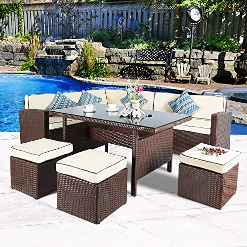 Cloud Mountain 7 PC Patio Wicker Rattan Dining Set Outdoor Garden Lawn Conversation Furniture Set Sofa Sectional Cushioned Seat Glass Top Table, Brown Rattan with Creamy White Cushions