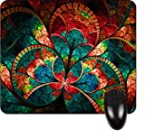 Best Mousepad Stains - Stained Glass Flower Petals Square Mousepad - Stylish Review
