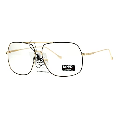 58214596adf Amazon.com  SA106 Nerd Geeky Oversize Rectangular Pilot Eye Glasses ...