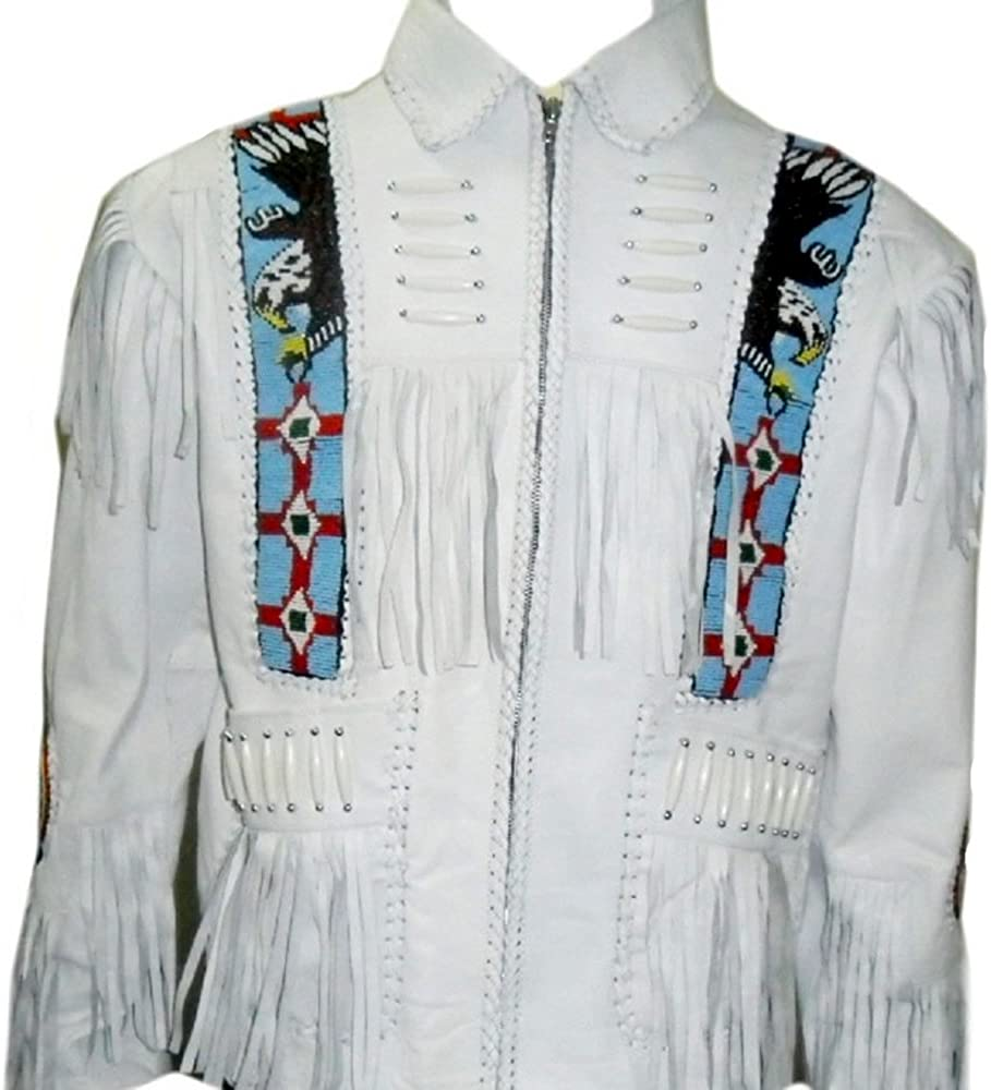 SRHides Mens Indian Cowboy Suede Leather Jacket Fringed /& Beaded