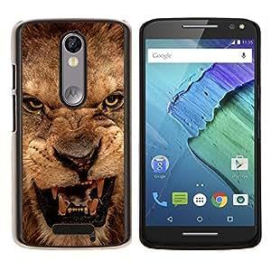 EJOOY---Cubierta de la caja de protección para la piel dura ** Motorola Moto X3 3rd Generation ** --Rugido del león enojado Cerrar Dientes Ojos Retrato