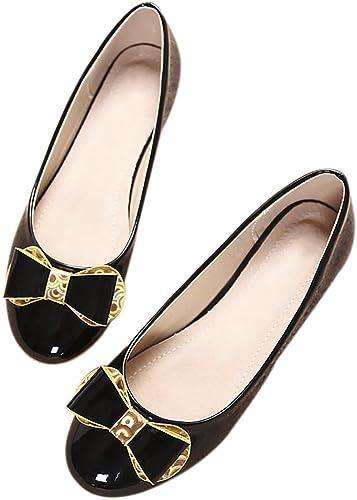 QZUnique Womens Classic Round Toe Patent Leather Ballet Slip On Boat Flat Shoes