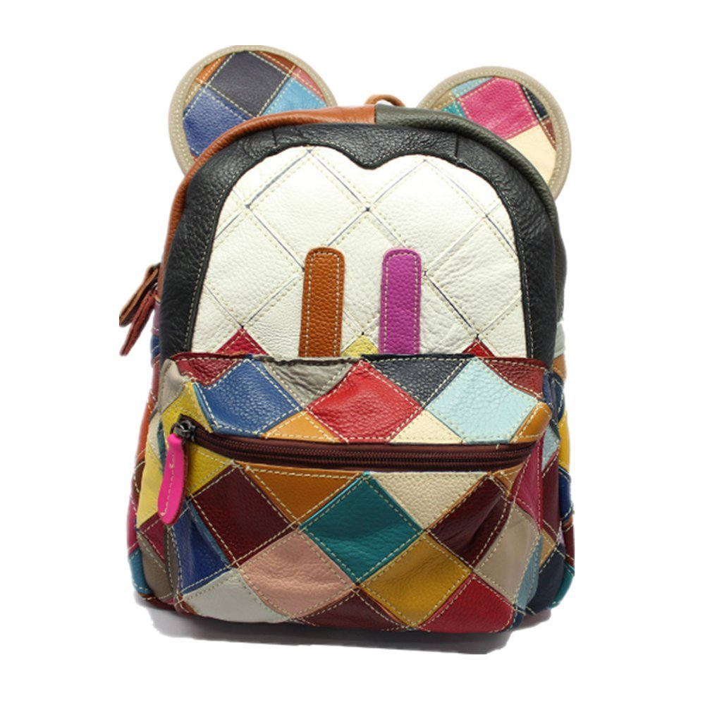 New backpack Lady's leather travelling bag Schoolbag Handbag Students bookbag(Multicolour)