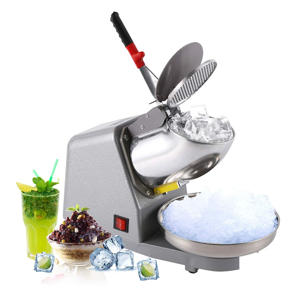 Commercial Electric Ice Crusher, 2 Blades Shaver Snow Cone Maker Home Stainless Steel Ice Shaver 185lbs/h