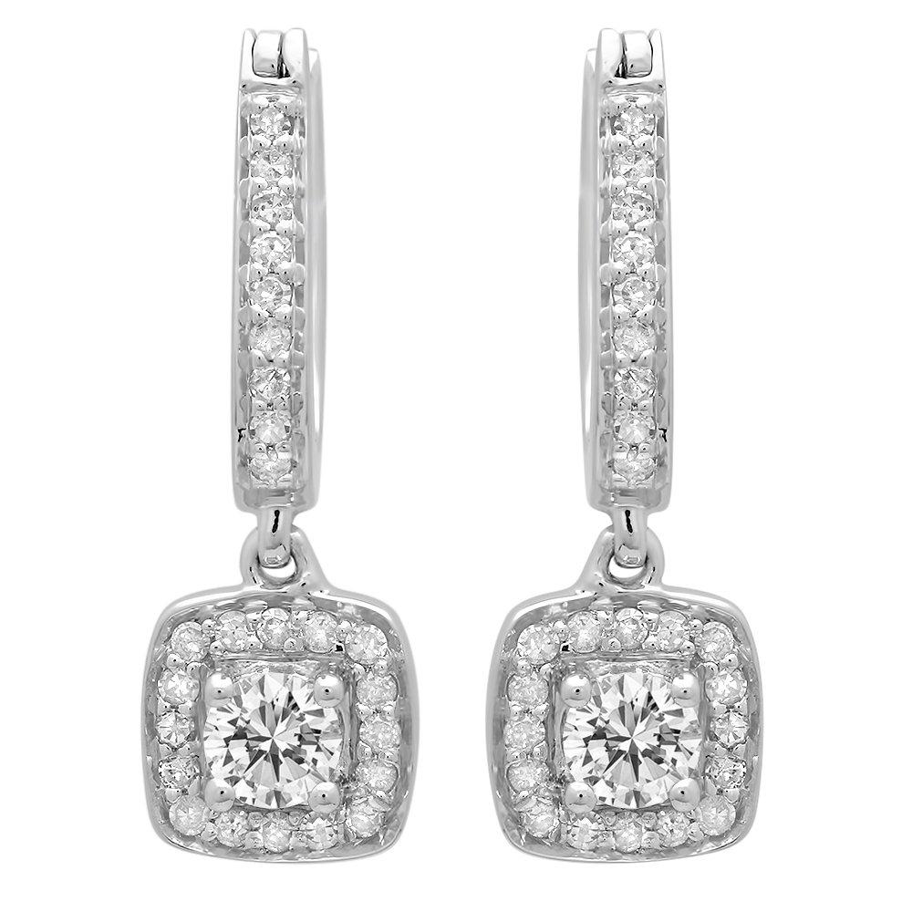 0.50 Carat (ctw) 14K White Gold Round White Diamond Ladies Halo Style Dangling Earrings 1/2 CT