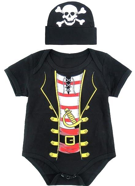 Mombebe Bebé Niños Pirata Halloween Disfraz Bodies con Sombrero (0-3 Meses, Pirata)
