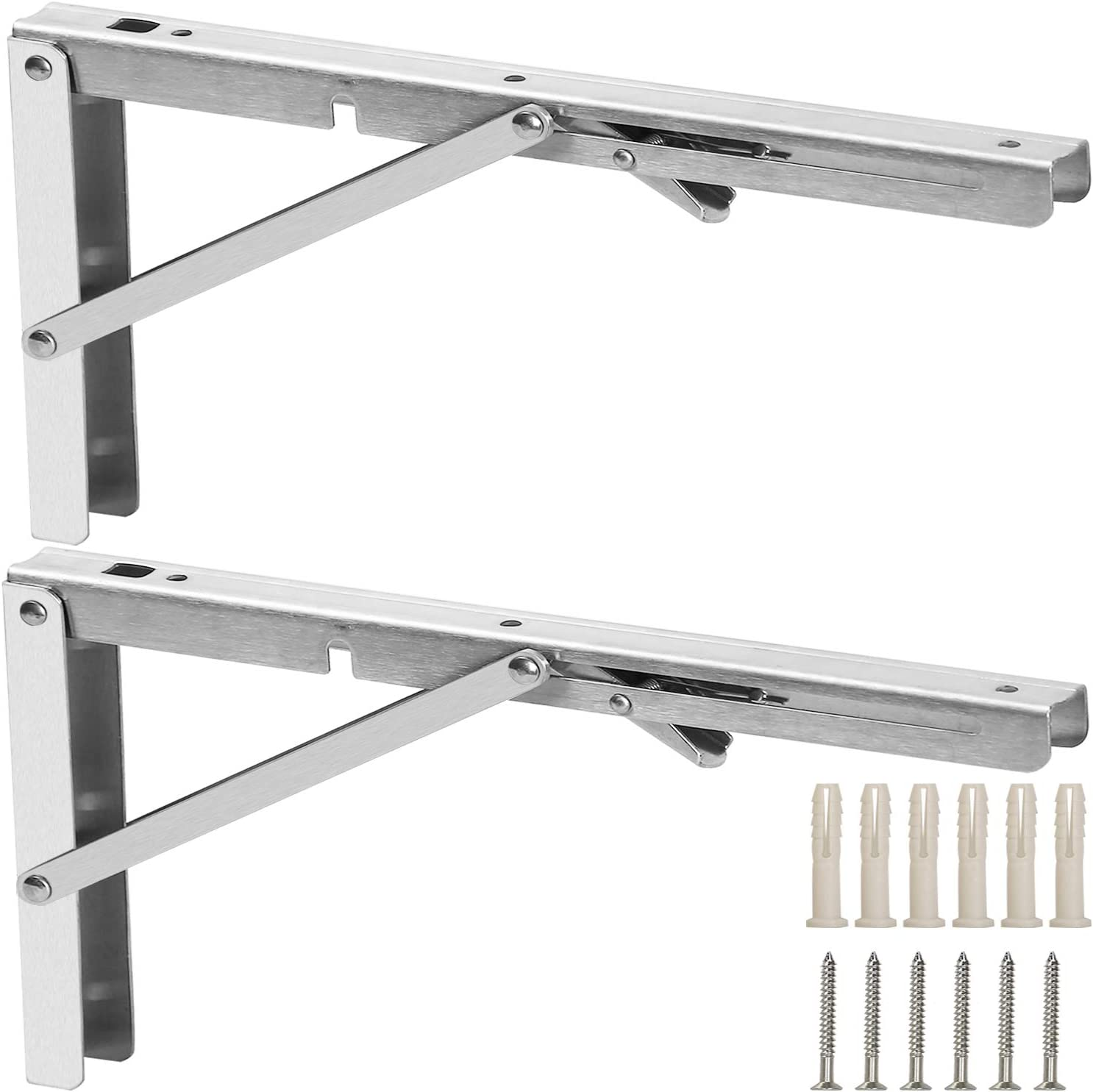 330lb FreeTec Long Release Arm Polished Stainless Steel Folding Shelf Bracket 12 Wall Bench Table Max Load