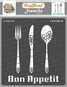 CrafTreat Kitchen Decor Stencils for Painting on Wood, Canvas, Paper, Fabric, Floor, Wall and Tile - Bon Appetit - 6x6 Inches - Reusable DIY Art and Craft Stencils - Kitchen Stencil