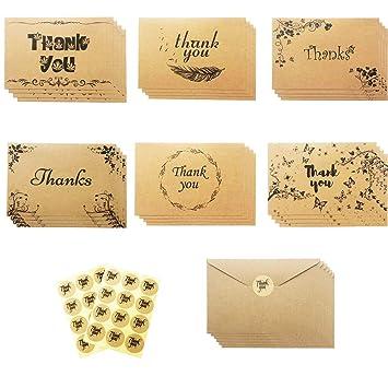 Amazon.com: Paquete de 24 tarjetas de agradecimiento de ...