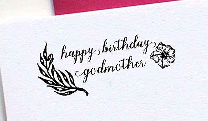 IMPACT2PRINT Feliz Cumpleaños Madrina Sello De Goma Montado ...