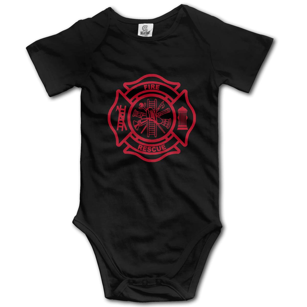 Coollifea Firefighter Baby Romper 0-18 Months Newborn Baby Girls Boys Layette Rompers Black