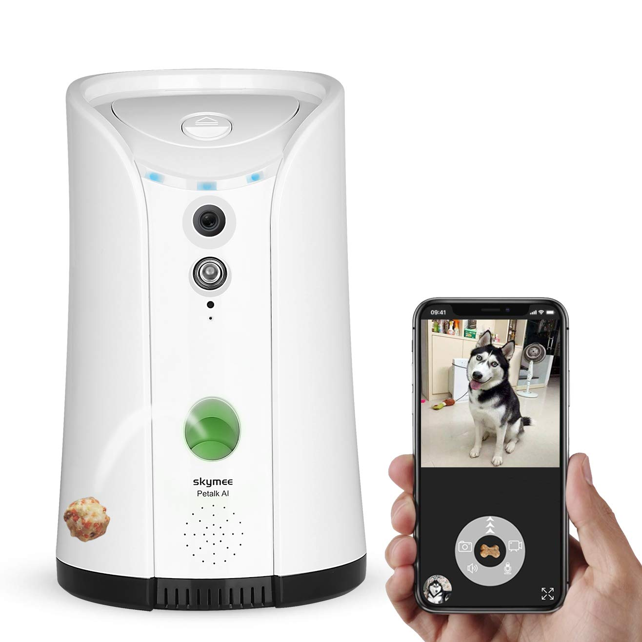 SKYMEE Dog Camera Treat Dispenser,WiFi Remote Pet Camera with Two-Way Audio and Night Vision,Compatible with Alexa by SKYMEE