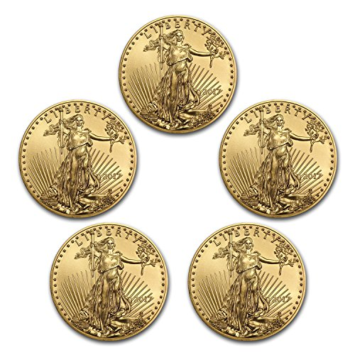 Gold Eagle Set (2017 1 oz Gold American Eagle Coin BU (Lot of 5) Brilliant Uncirculated)