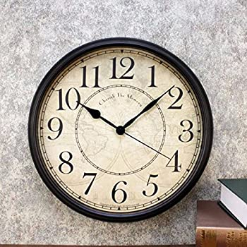 Wall Clocks Vintage American living room wall clock digital clock creative personality nostalgic European style decorative wall clock watch mute