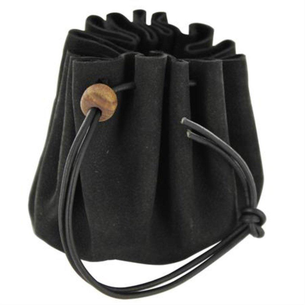 Soft Leather Purse Black Renaissance Drawstring Coin Bag