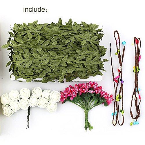 ZEKUI DIY Artificial Olive Leaf Vines Garland Vine Decoration Garden Wedding Flower Party Wreaths Decor (vine+flower)