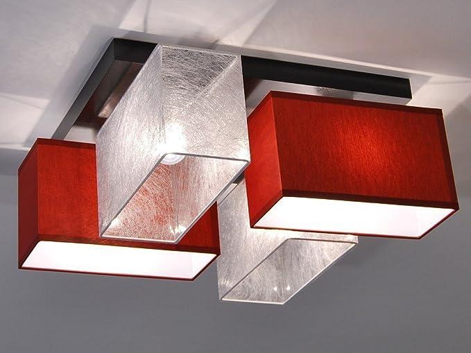 Plafoniera moderna rettangolo Rosso e argento Plafoniera soggiorno ...