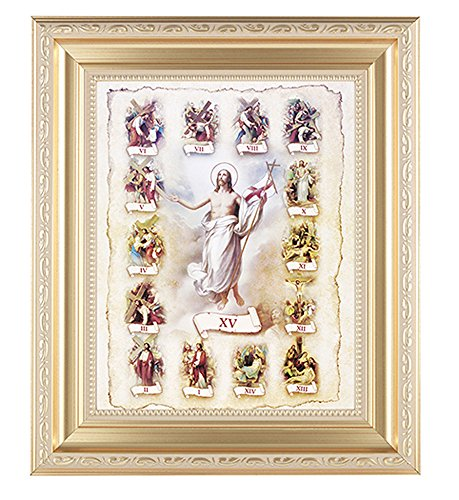 Scrollwork Cross (Stations of the Cross Print in a Fine Detailed Scrollwork Satin Gold 11-1/2