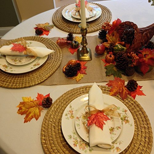 Thanksgiving tablecloth, napkins and decorative setting. 90 Inch round ivory linens.