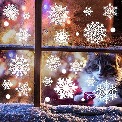 White Snowflakes Window Clings Decal Stickers For Christmas Decorations Ornaments Party Supplies 184 pcs