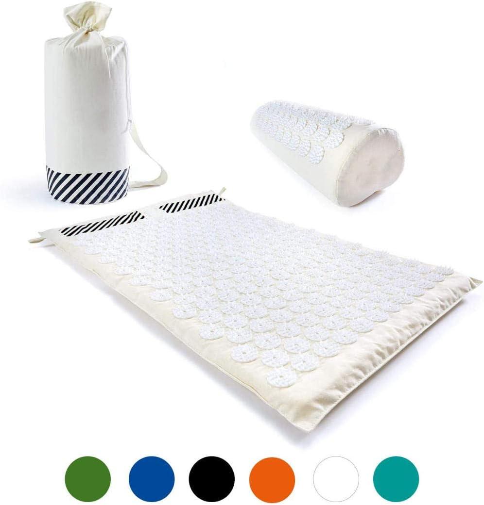 ASDASD Set de acupresión »Bolsa + Esterilla + Almohada - Esterilla de acupresión y Masaje para relajación, estimulación y meditación alegres-Blanco