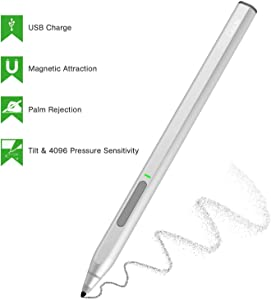 Ciscle High-Efficiency Charge Digital Stylus Pen with 1024 Levels of Pressure Sensitivity and Palm Rejection Function, Tilt, Magnetic Attachment Digital Pen for Surface Pro/Go/Book-Black