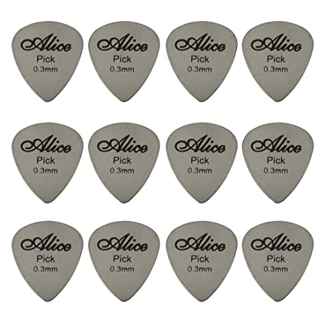 Alice 0,3 mm de grosor acero inoxidable púas púa para guitarra eléctrica 12 piezas
