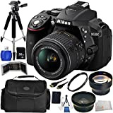 Nikon D5300 DSLR Camera with 18-55mm Lens (Black) International Version (No Warranty) 16PC Kit. Includes AF-S DX NIKKOR 18-55mm f/3.5-5.6G VR II Lens + 0.45X Wide Angle Lens + 2X Telephoto Lens + High Definition UV Filter + 32GB SD Memory Card + More