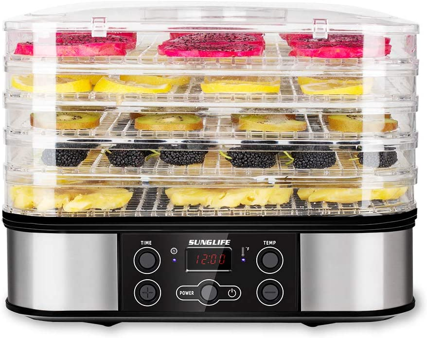 SUNGLIFE Food Dehydrator Machine for Jerky/Meat/Beef/Fruit/Vegetable, 5 BPA-Free Trays Automatic Food Drying Machine, Digital Temperature, 48 Hour Timer, LCD Display