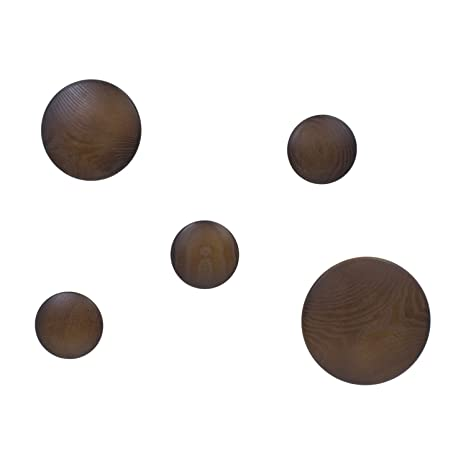 Vaukura Percheros de Pared Dots - Percheros de Madera (Nogal)