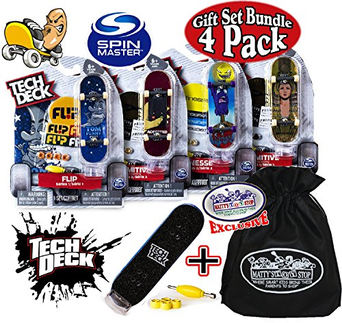 "Tech Deck 96mm Individual Fingerboards Gift Set Party Bundle with Bonus Exclusive ""Matty's Toy Stop"" Storage Bag – 4 Pack (Assorted Styles)"