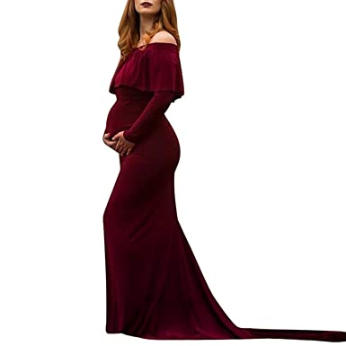 4632c923d5bd9 Maternity Dress Womens Off Shoulders Ruffles Long Sleeve Pregnancy Maxi  Dress for Photography Photo Shoot Pregnancy Nursing Long Dress (L, Sexy Wine):  ...