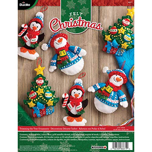 Bucilla Felt Applique Ornament Kit, 4 by 6-Inch, 86671 Trimming The Tree (Set of - Bucilla Christmas Ornament