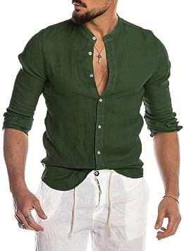 YFSLC-Studio Camisa De Manga Larga Hombre,Verde Oscuro De Moda Casual Hombres Camiseta con Cuello En V Botón Pulsado Slim Fit Cómodos Breasted Único Manga Larga Camisetas Oficiales: Amazon.es: Deportes y aire libre