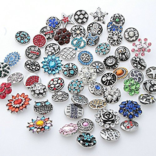 25PCs Yaoding Mix Style Rhinestone Snaps Chunk Press Buttons 18mm for Snap Charms Ginger Jewelry Making ()