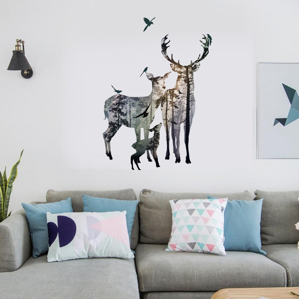 Amazon.com: Fenleo Deer Elk Head Wall Stickers,Home Decor Removable ...