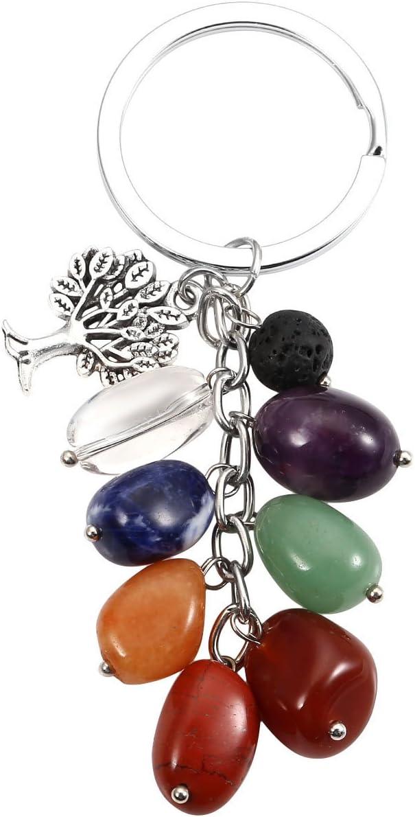 Jovivi - Llavero con dije de aromaterapia y difusor de aceite esencial de 7 chakras con piedra preciosa plateada