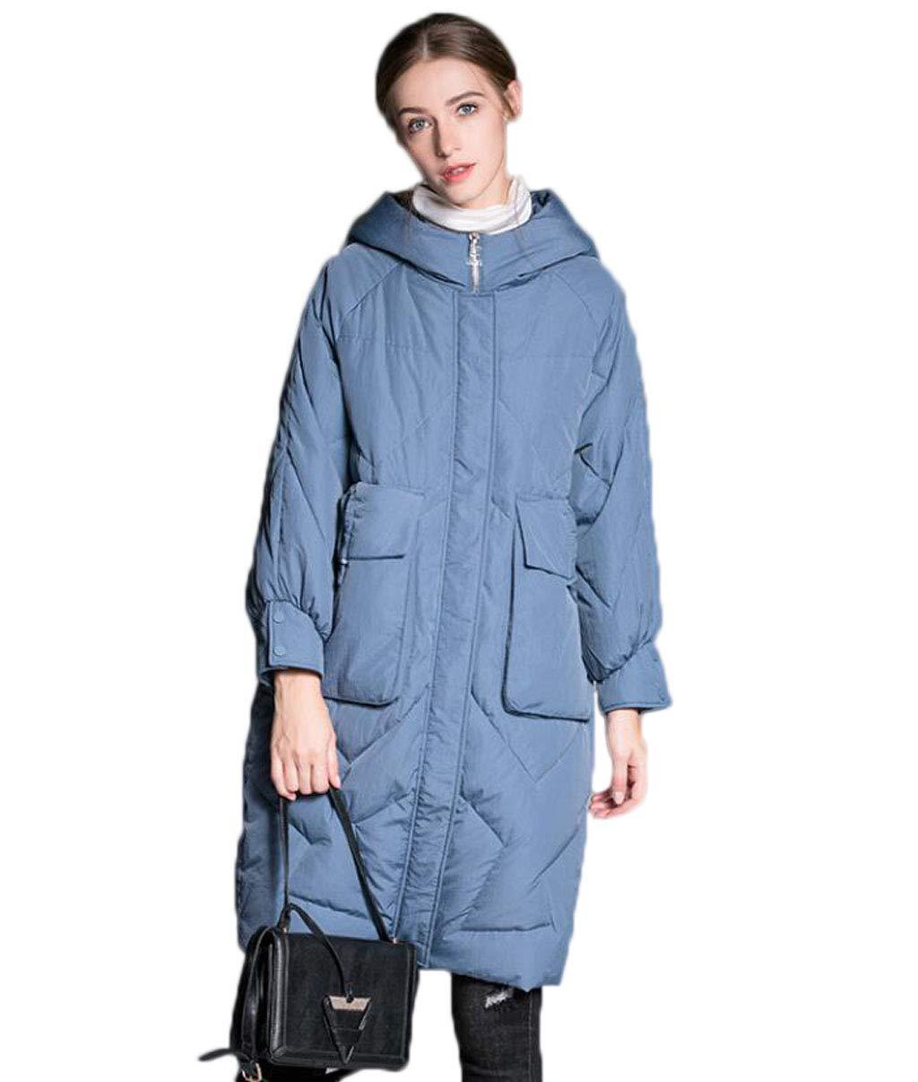 bluee Women's Down Jacket Winter Hooded Loose Thickening Long Warm Windbreaker Jacket (color   bluee, Size   L)