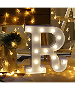 Alelife Remote Control 26 English Alphabet Lights LED Light Up White Plastic Letters Standing Hanging A-Z Home Decor Kid Gift Light Birthday Wedding Shop Sign (R)