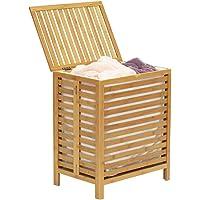 BAKAJI Cesto de la ropa sucia para la colada Casa de madera de bambú y tela, ahorra espacio con tapa y bolsa extraíble…