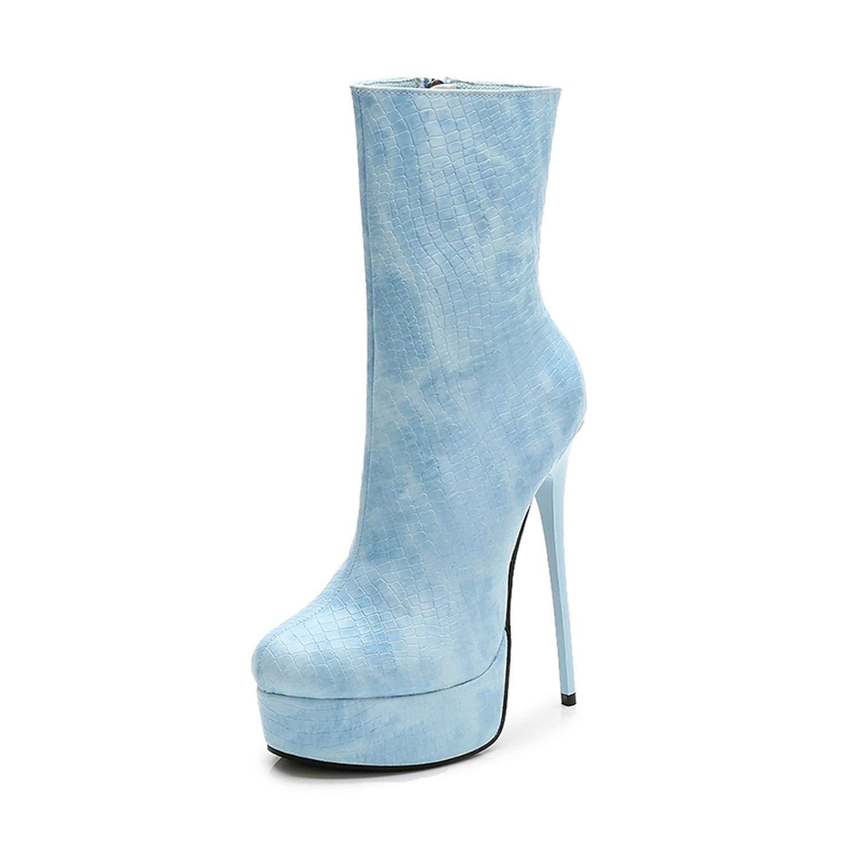 Light bluee Women's Waterproof Boots Slim 15cm High Heel Boots Women's Boots shoes Ladies Trend Street Boots