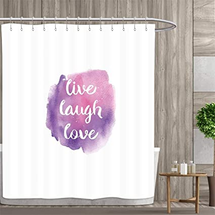 Anniutwo Live Laugh Love Shower Curtains With Hooks Watercolor Ombre Inspired Paint Splash Background