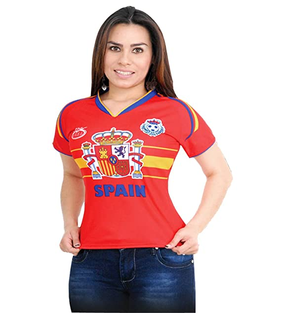 1ea6004e328 Spain Women Arza Soccer Jersey 100% Polyester. color Red and White (Small,