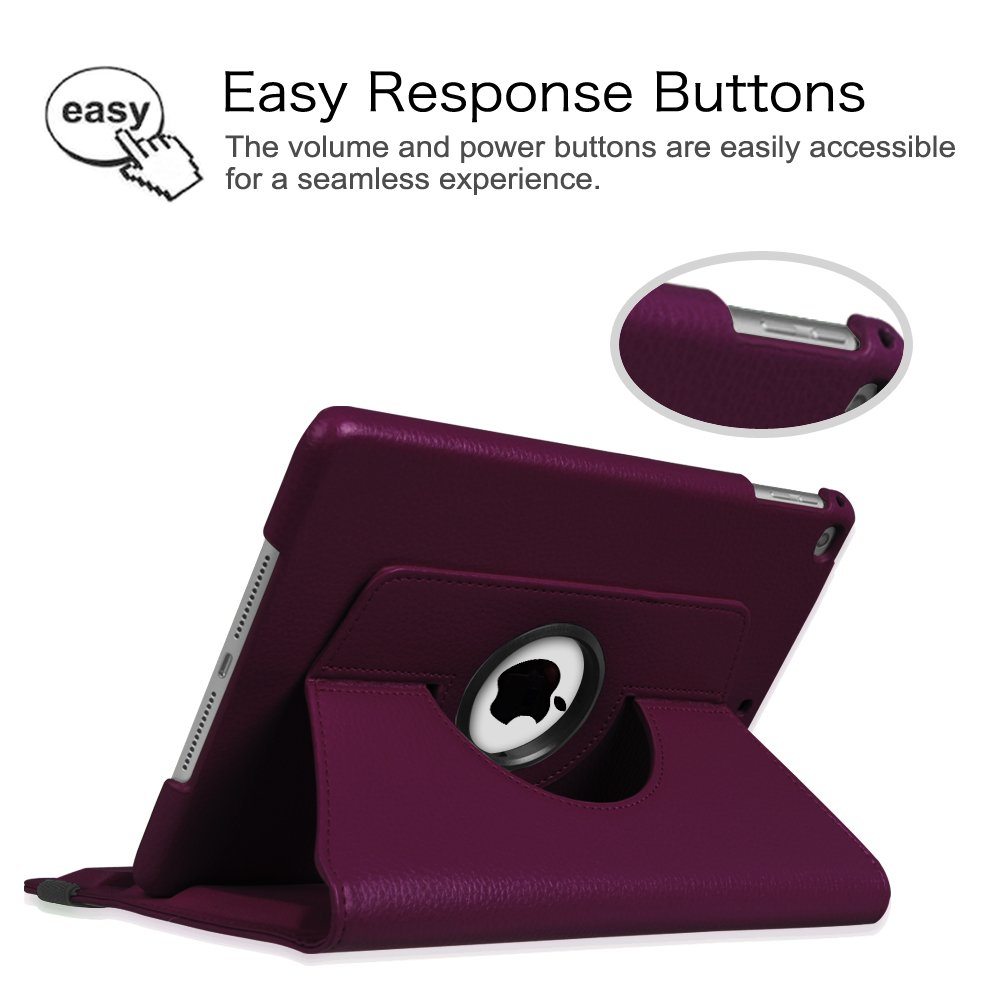 Fintie iPad 9.7 inch 2018 2017 / iPad Air Case - 360 Degree Rotating Stand Protective Cover with Auto Sleep Wake for Apple iPad 9.7 inch (6th Gen, 5th Gen) / iPad Air 2013 Model, Purple by Fintie (Image #3)