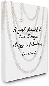 Stupell Industries Classy and Fabulous Fashion Quote with Pearls Canvas Wall Art, 16 x 20, Design by Artist Amanda Greenwood