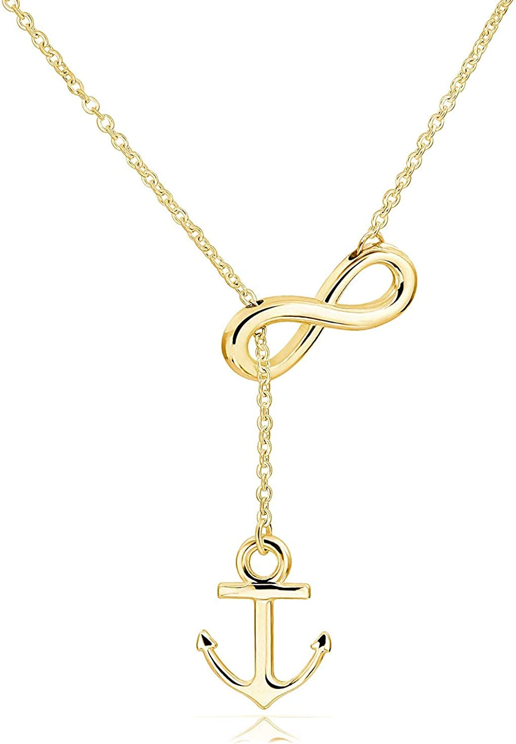 LAOFU Anchor and Infinity Necklace Sterling Silver Anchor Infinity Pendant Infinity Lariat Necklace