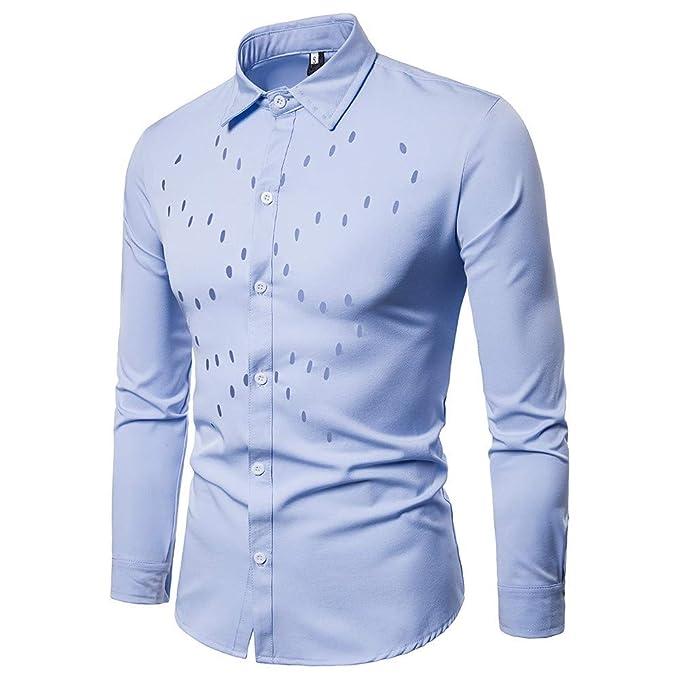 Blusa de Hombre, BaZhaHei, Camisetas de Solapa de Manga Larga con Cuello en Color
