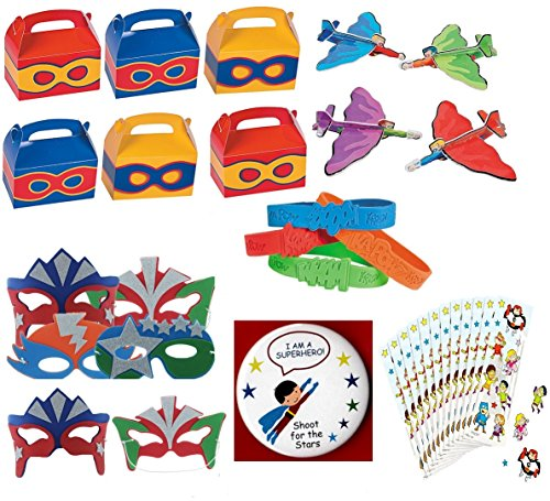 (Superhero Birthday Party Favors Supply Pack Toy Assortment (12 Treat Boxes, 12 Foam Mask, 12 Airplane Gliders, 12 Bracelets, Super hero Stickers & Bonus Button))